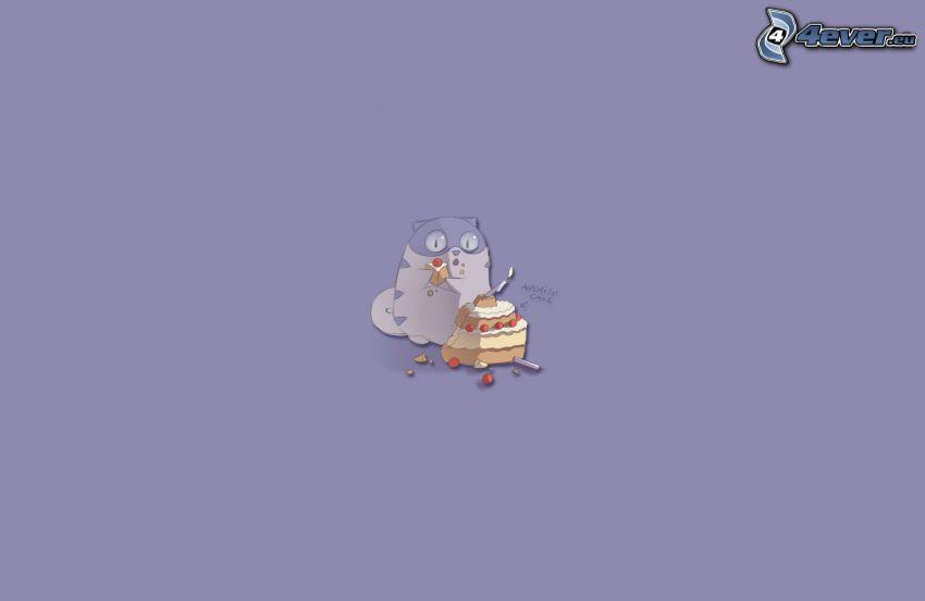 gatto disegnato, torta