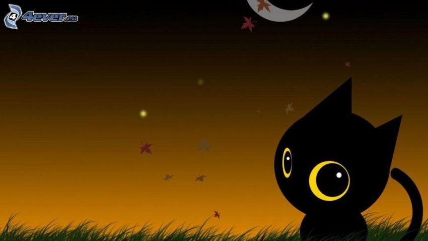 gatto nero, notte, luna, foglie di autunno