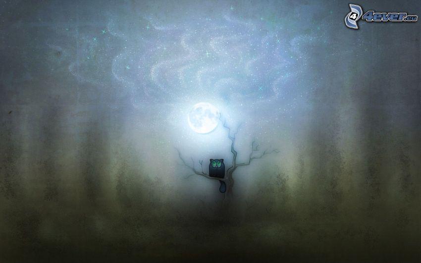 gatto su un albero, gatto nero, luna, notte