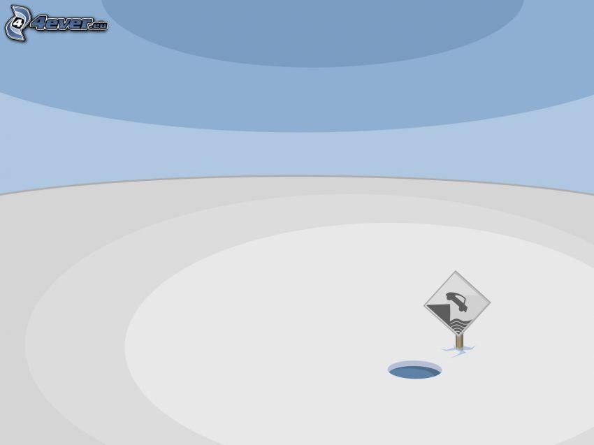 ghiaccio, buco, segnale