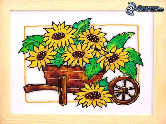 girasoli, fiori disegnati