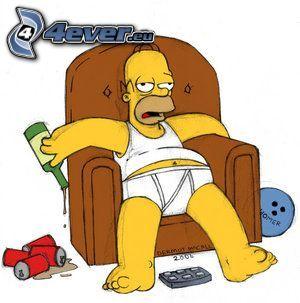 Homer Simpson, birra, disordine, alcool, sedia