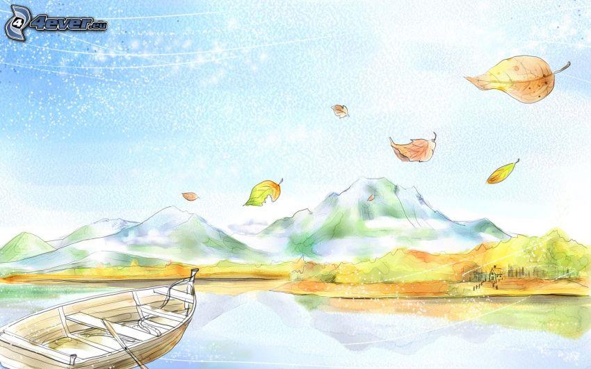imbarcazione, foglie, laghetto, colline