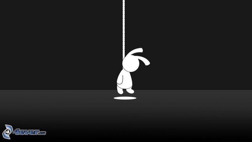 impiccato, coniglio, siluette