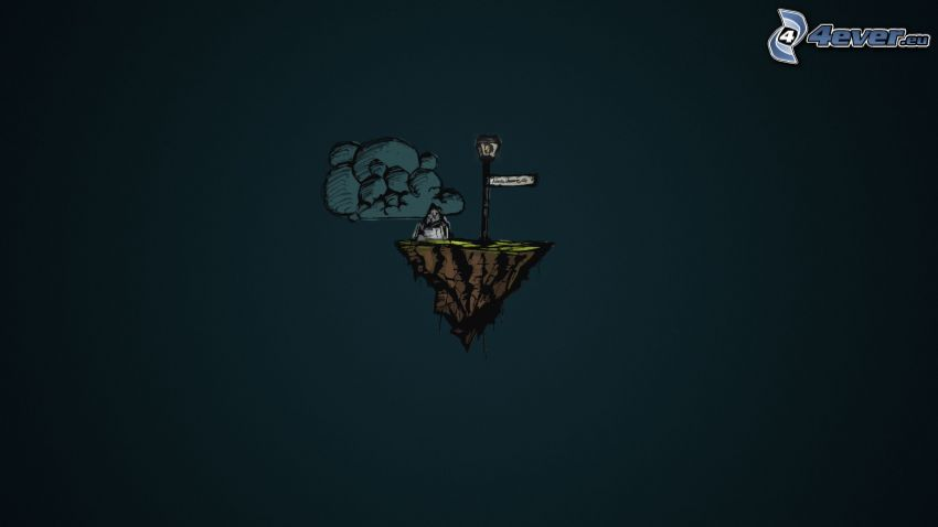isola, nuvola, lampione