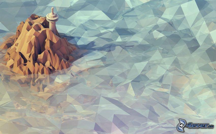 isola rocciosa, faro sull'isola, faro animato, mare