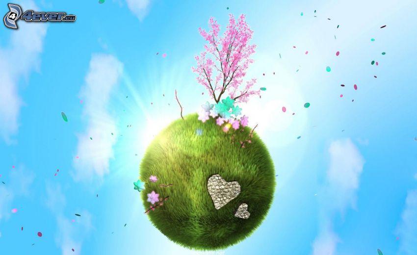 isola volante, albero fiorente, l'erba
