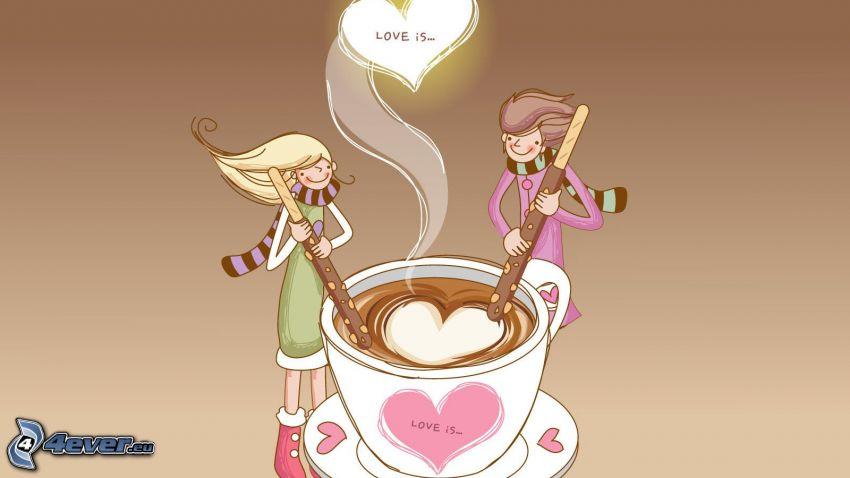 L'amore è ..., caffè, cuore, personaggi dei cartoni animati