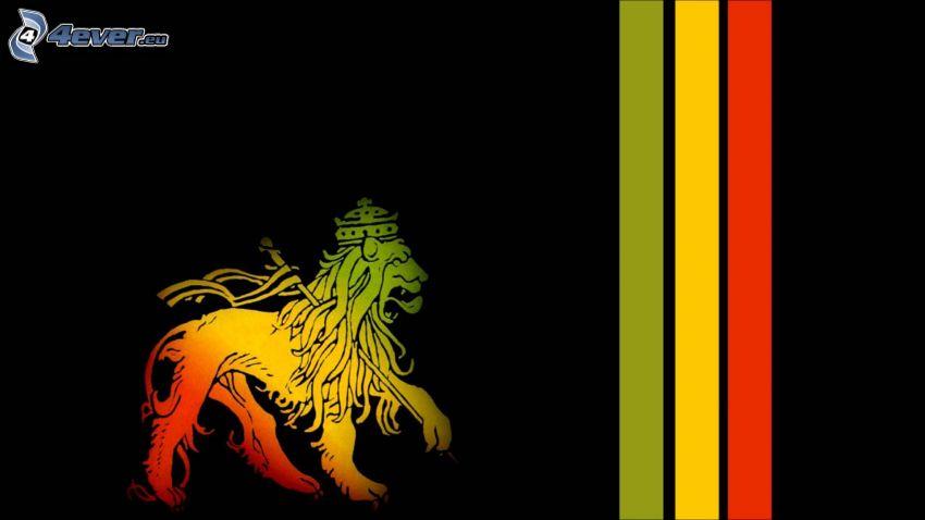 leone disegnato, strisce colorate