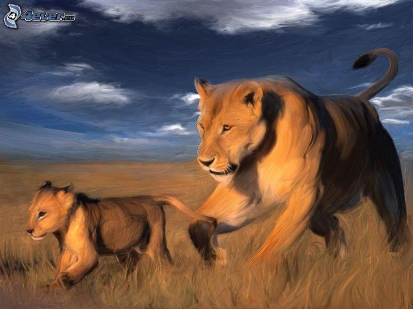 leonessa con cucciolo, famiglia dei leoni, cucciolo, leonessa, cielo, pittura
