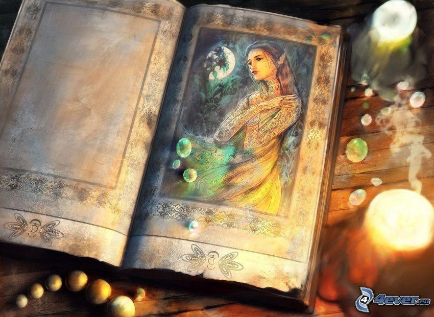 libro antico, elf, candele