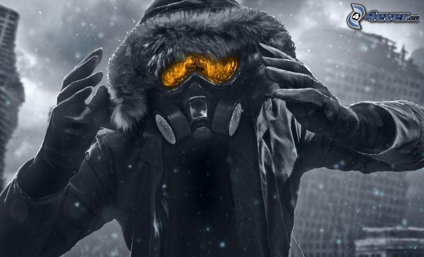 l'uomo in maschera antigas