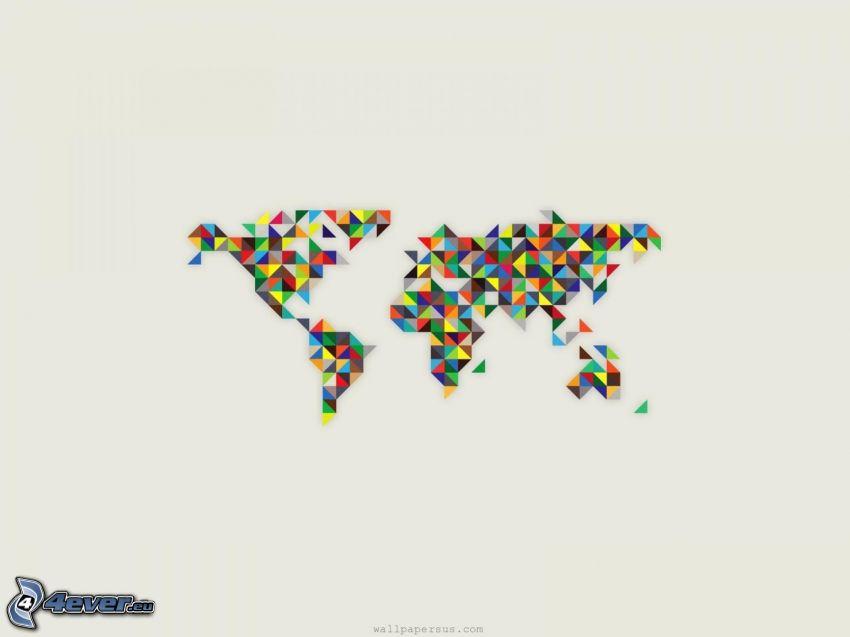 mappa del mondo, triangoli