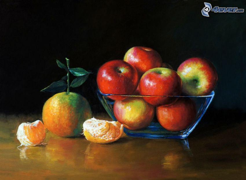 mele, mandarino, ciotola