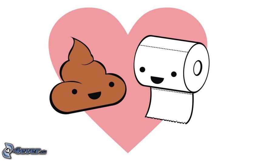 merda, carta igienica, cuore