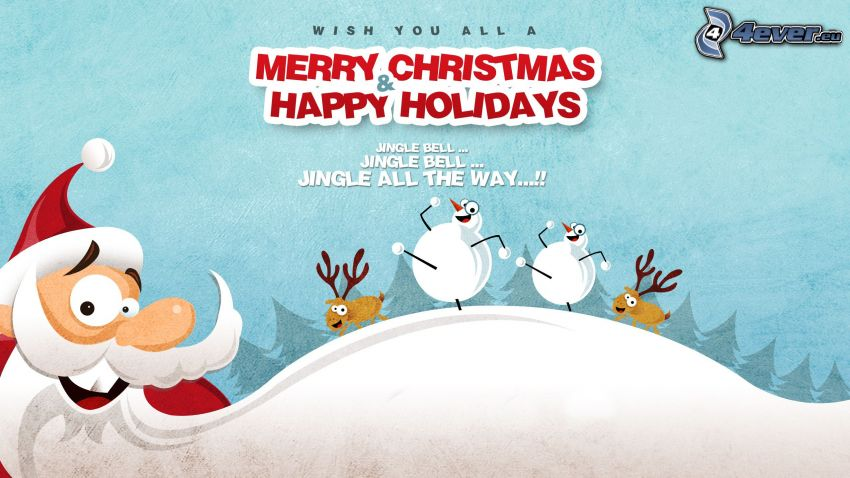 Merry Christmas, Happy Holidays, Santa Claus, Pupazzi di neve, renne