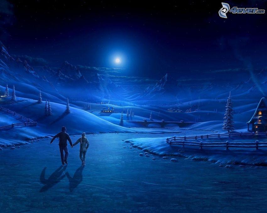 notte, coppia, pattinaggio, case di campagna innevate, luna, fiume nell'inverno