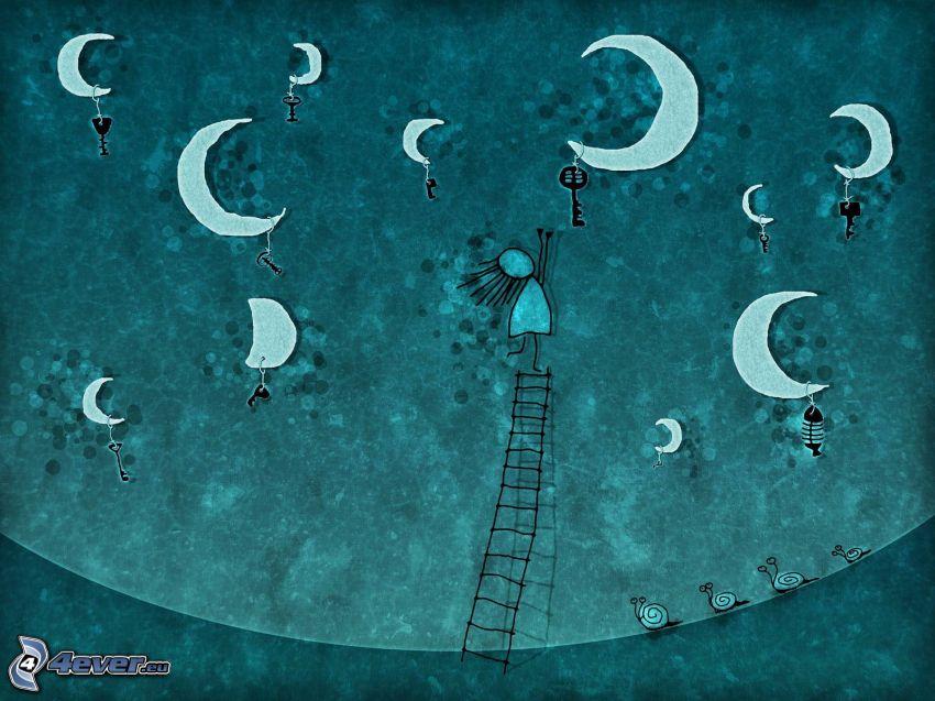 notte, lune, chiavi, disegno di una ragazza, scala, lumache