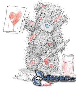 orsacchiotto, amore, cuore