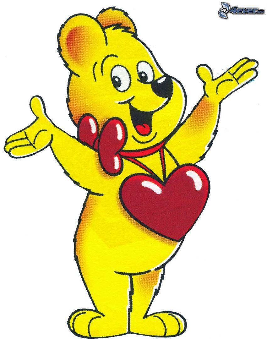 orsacchiotto con cuore, cartone animato