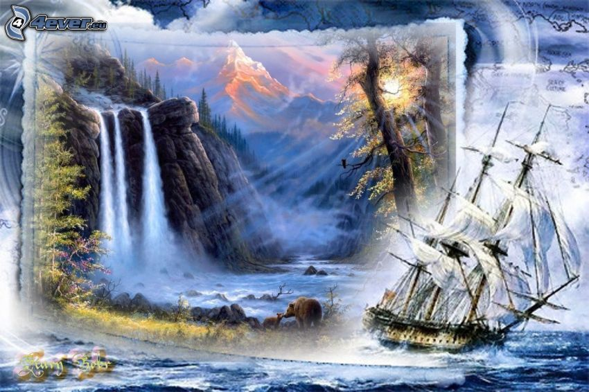 paesaggio, nave, barca a vela