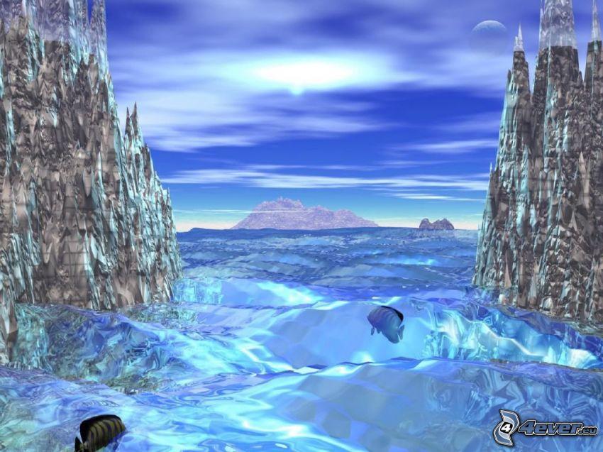 paesaggio digitale, pesci, mare, isola