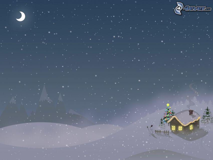 paesaggio innevato, casa, albero di Natale, pupazzo di neve, luna, inverno