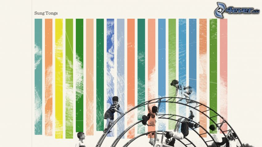 palestra giungla, strisce colorate, bambini
