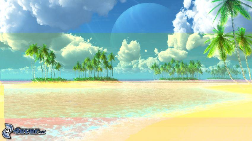 palme, spiaggia, nuvole