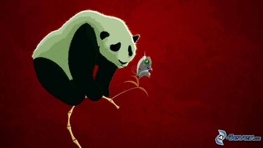 panda, farfalla, bambù