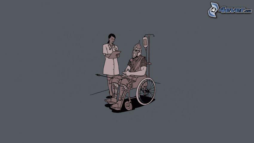paziente, cavaliere, uomo, ferita, sedia a rotelle, infermiera