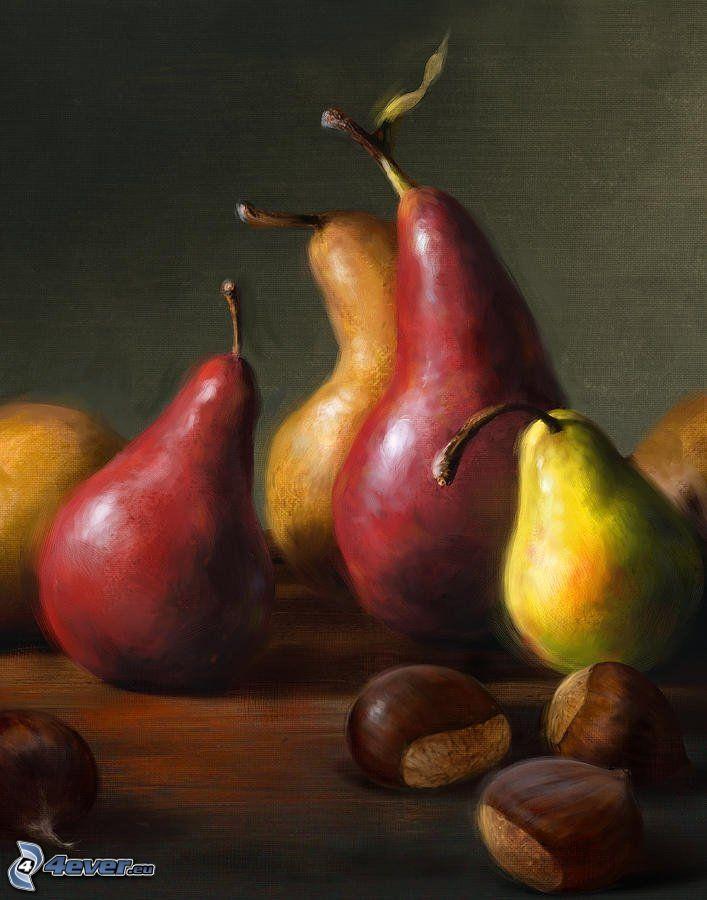 pere, castagne, pittura