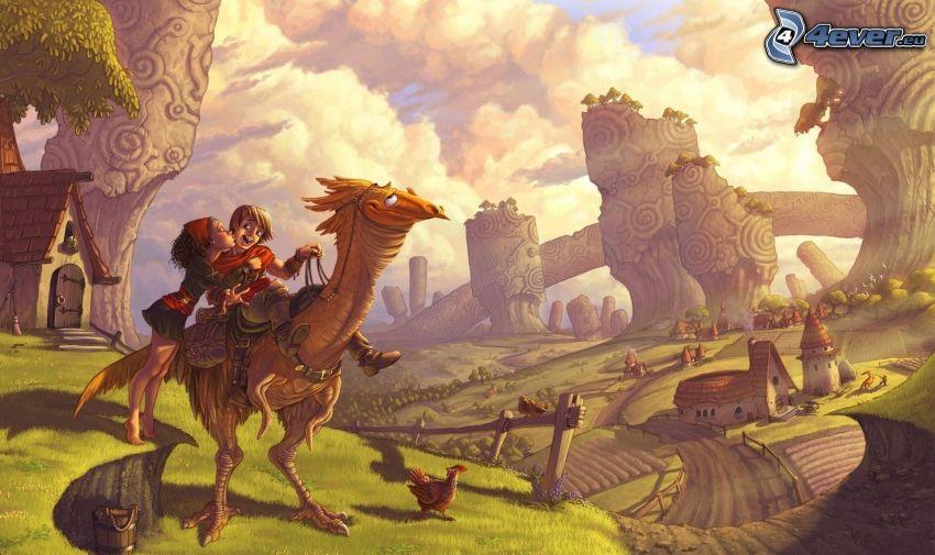 personaggi dei cartoni animati, coppia, drago, bacio, paesaggio dipinto