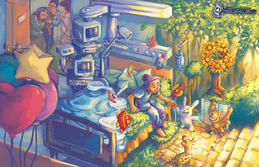 personaggi dei cartoni animati, paesaggio dipinto
