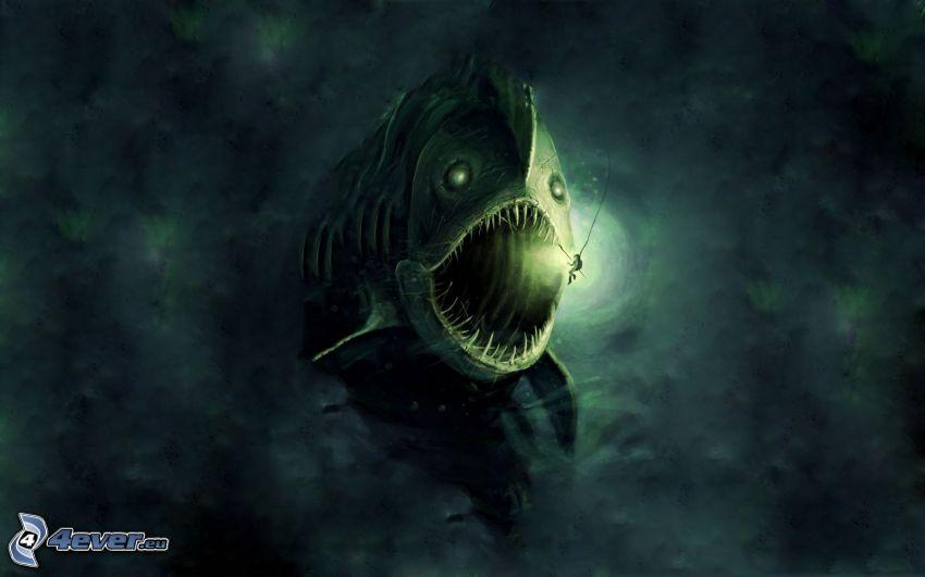 pesci predatore, oscurità