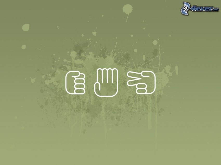 pietra, carta, forbici, mani, macchia