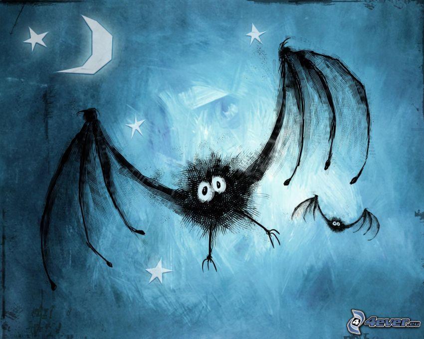 pipistrelli, luna, stelle