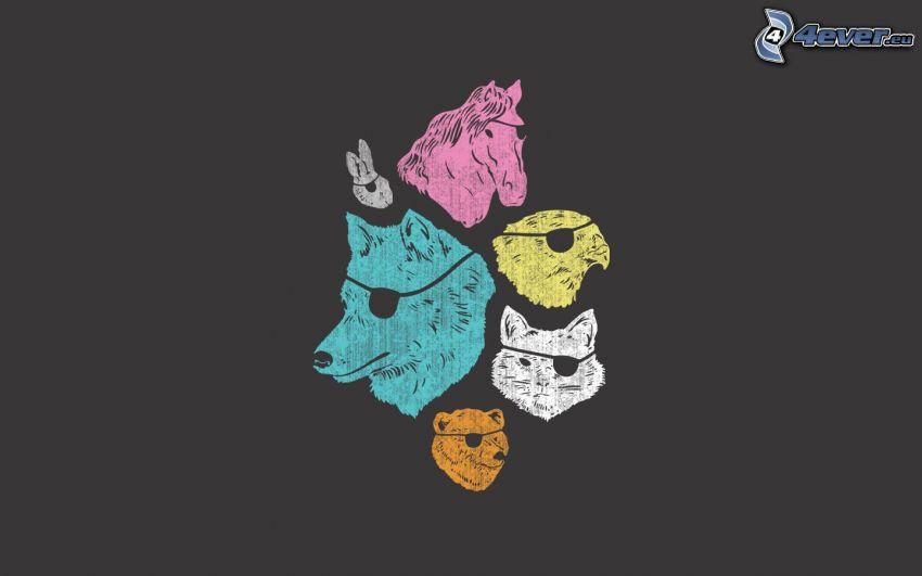 pirata, animali, lupo, orso, gatto, aquila, cavallo, coniglio