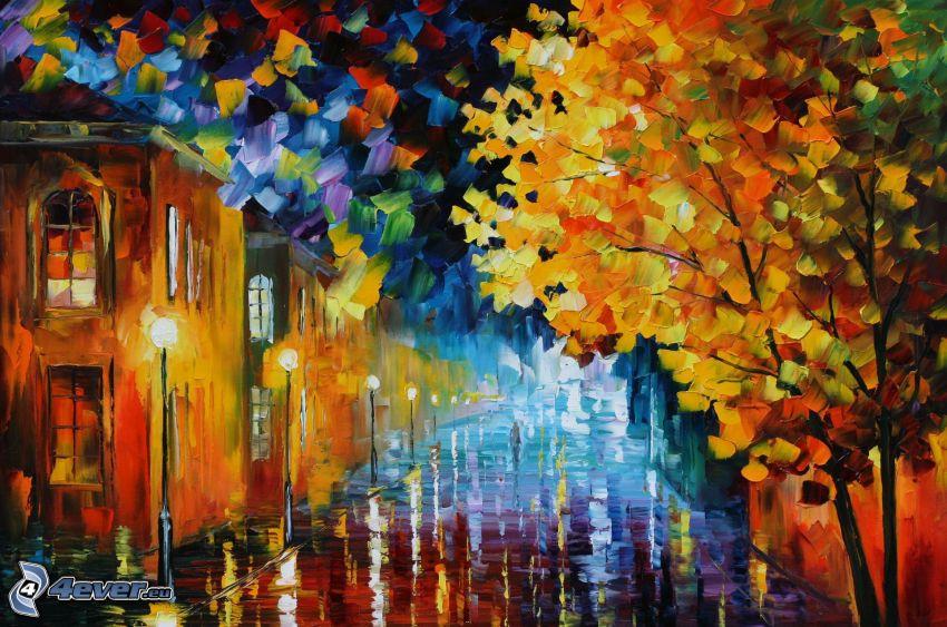 pittura a olio, strada, lampioni