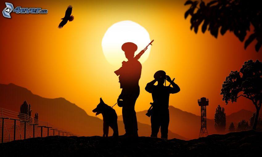 poliziotti, pastore tedesco, siluette, tramonto