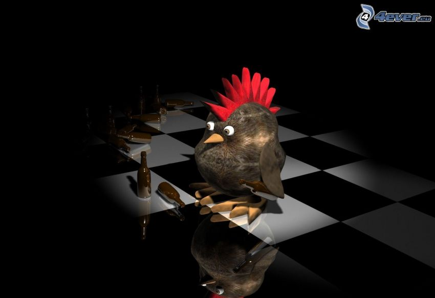 pollo, bottiglie, scacchiera