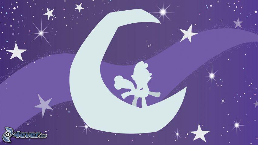 pony, luna, stelle