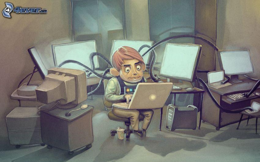 programmatore, computer, ufficio