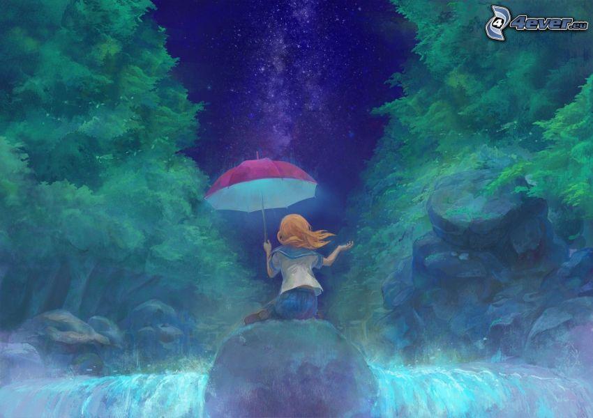 ragazza con l'ombrello, cascata, foresta