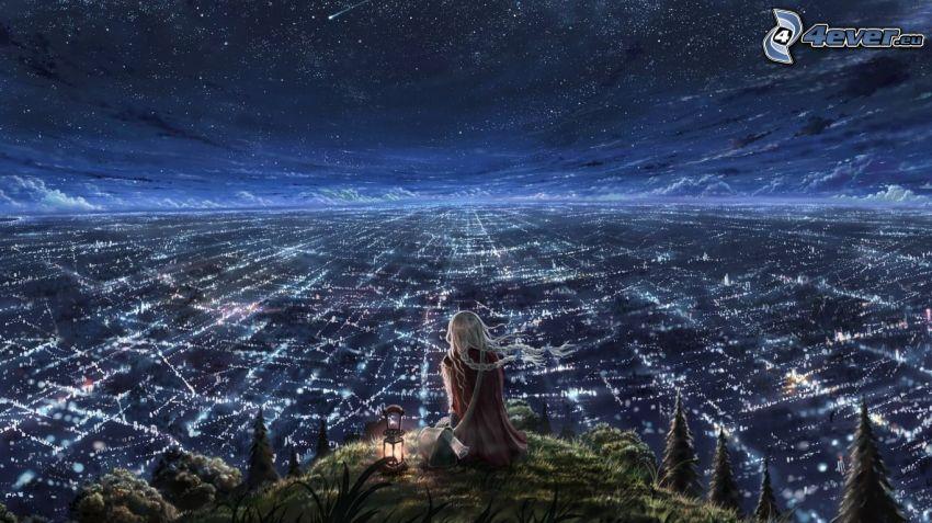 Ragazza sopra la città, cielo notturno, notte