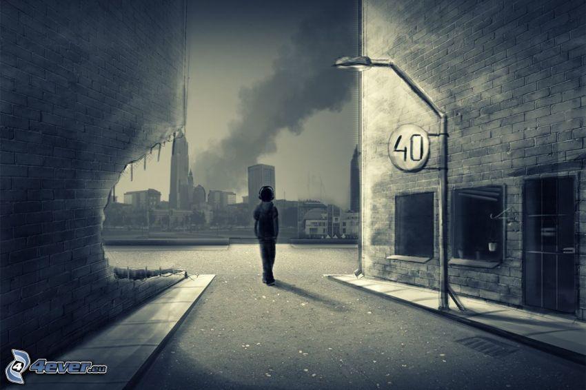ragazzo, strada, città, cartello stradale, lampada