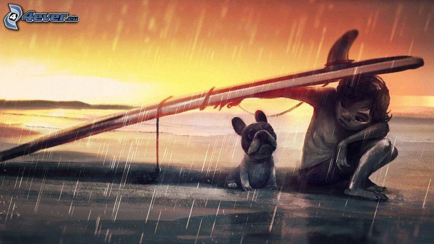 ragazzo cartone animato, cane disegnato, surf, pioggia