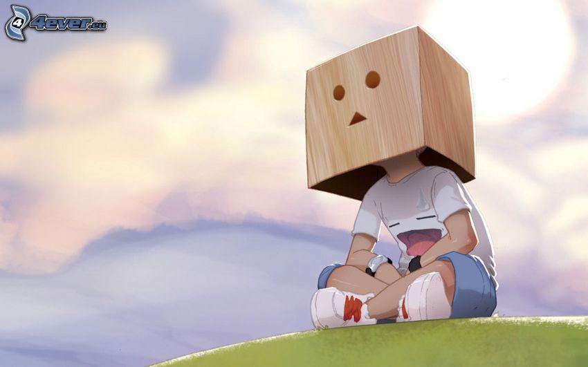 ragazzo cartone animato, robot di carta