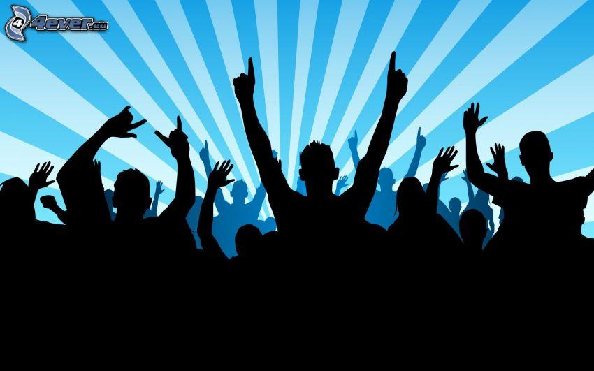 sagome di persone, sfondo blu, righe, festa