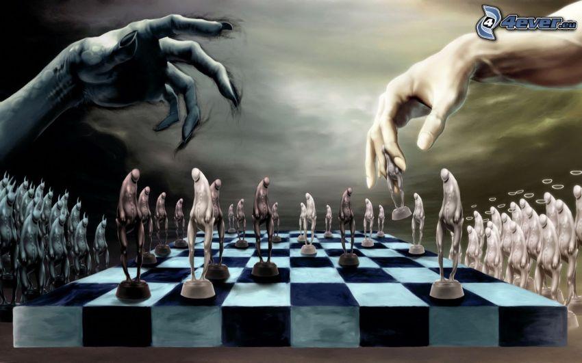 scacchiera, angelo e diavolo, mani disegnate